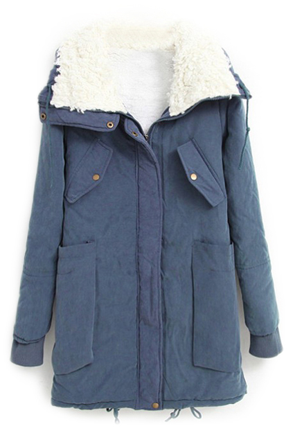ROMWE | ROMWE Pocketed Drawstring Long Sleeves Blue Coat, The Latest Street Fashion