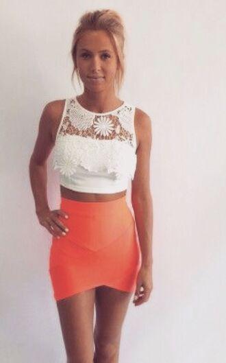 skirt orange skirt white crop tops vegas dress bodycon skirt orange bodycon shirt
