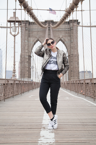 irene closet blogger superstar shiny moschino white t-shirt black pants adidas shoes