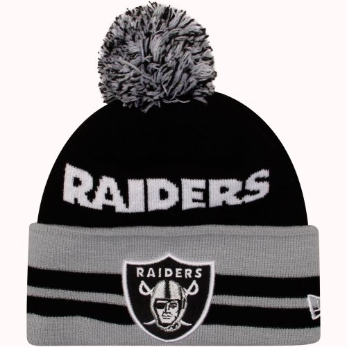 New Era Oakland Raiders Legacy Wide Pom Knit Hat - Black - NFLShop.com