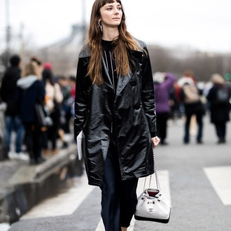 bag chanel gabrielle backpack white backpack backpack chanel chanel bag coat black coat leather leather coat streetstyle