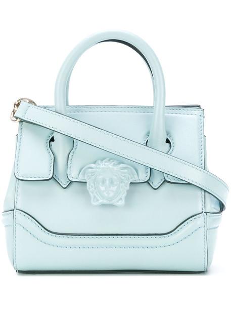 VERSACE mini women bag tote bag leather blue wool