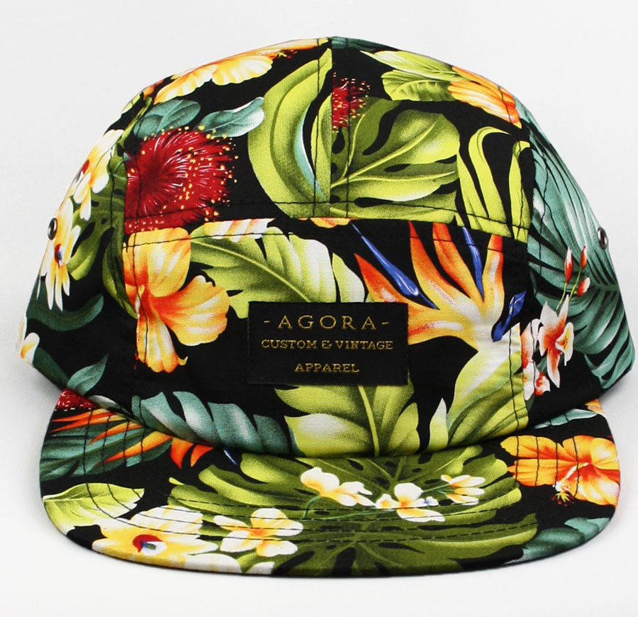 Agora Hibiscus Flowers 5 Panel Camp Cap Hat Snapback HUF Aloha New | eBay