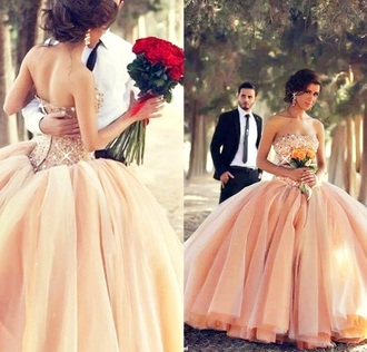 dress floral pattern lace peach wedding clothes wedding dress bride bridal women lady crystal quartz shinny where to get that dress store shop shopping online cheap the jewels on the dress champagne dress jewels on dress pinks dress