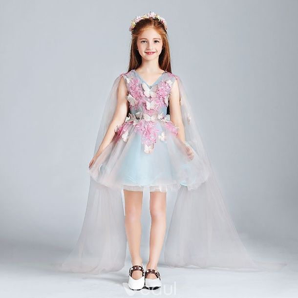 Dress Little Girls Wedding Party Short Flower Girl Dresses Fashion Week 2017 Tulle