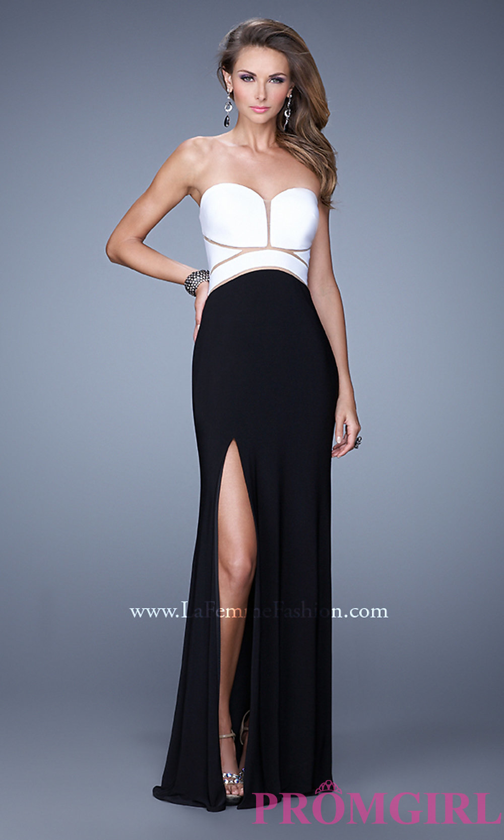 Black and White Gown for Prom by La Femme 21051