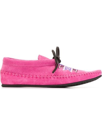 moccasins embroidered purple pink shoes