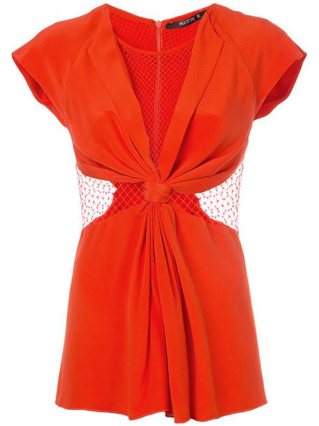 Kitx - Web Knot top - women - Silk/Cotton - 6, Red, Silk/Cotton