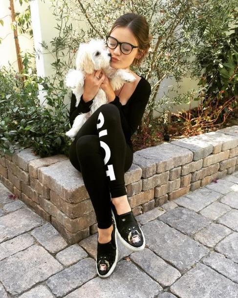 pants sweatpants flats lucy hale instagram glasses leggings