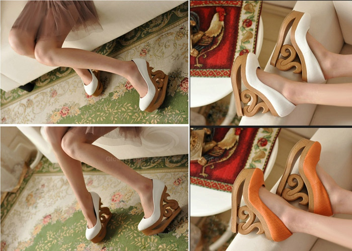 Wholesale Party Women's Spring Wedge Shoes With PU Leather Irregular Heels Round Toe Design (WHITE,36), Wedges - Rosewholesale.com
