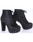 High heel heels platform boots rivets leather punk motor motorcycle