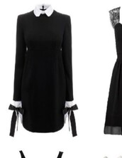 dress,long sleeve dress,black dress,gothic dress,white collar,collared dress,gothic lolita