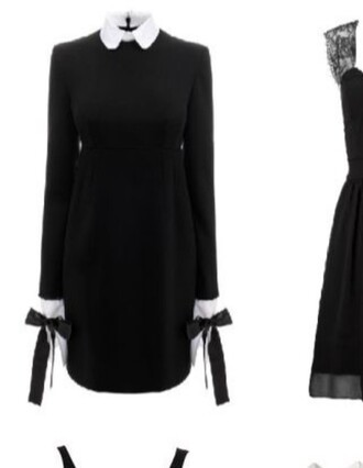 dress long sleeve dress black dress gothic dress white collar collared dress gothic lolita