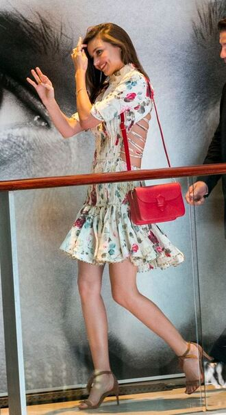 dress floral floral dress miranda kerr sandals scarf shoes