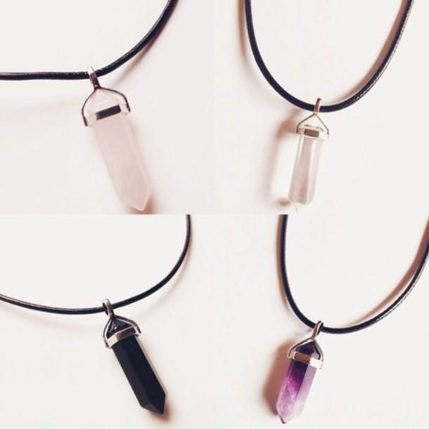 jewels necklace quartz violet pink white
