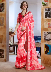 dress,red printed casual saree,casual saree,women wear,clothes,indian wear