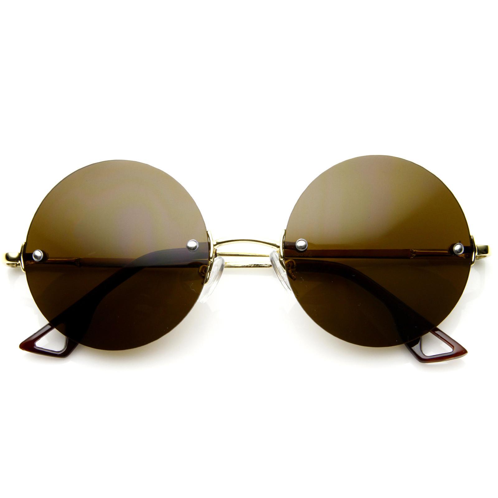 Frameless Circle Glasses : European Retro Frameless Round Fashion Sunglasses 8912
