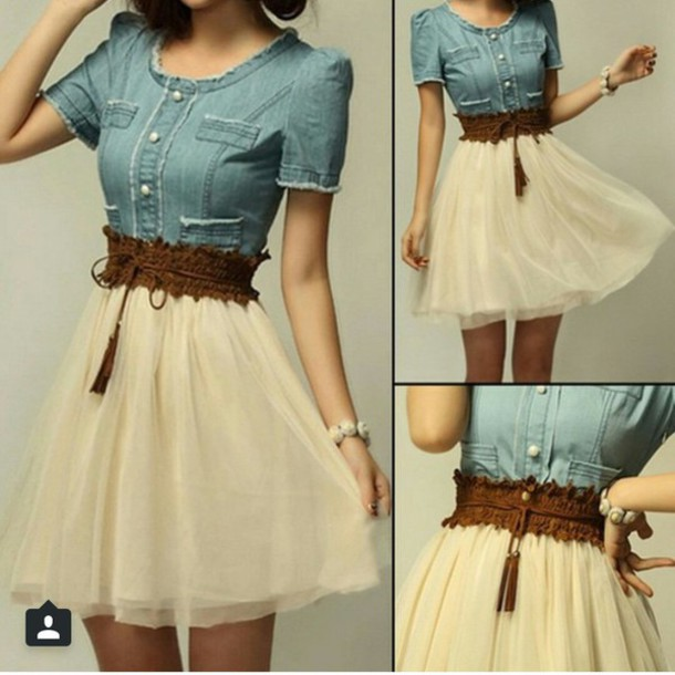 dress denim blue white belt button denim dress