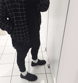 jacket black jacket white embossed grid print blouse grunge t-shirt