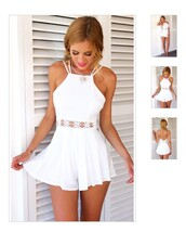 jumpsuit,white,romper,fashion,summer,beach,dress,white dress,white top,white skirt,white romper,summer dress,flowers,holtertop,lace,white lace romper,girly,flower details,vintage,open back dresses,girly dress,clothes,www.ebonylace.storenvy.com,with cut out flower shape at the waist,cutout romper,crochet