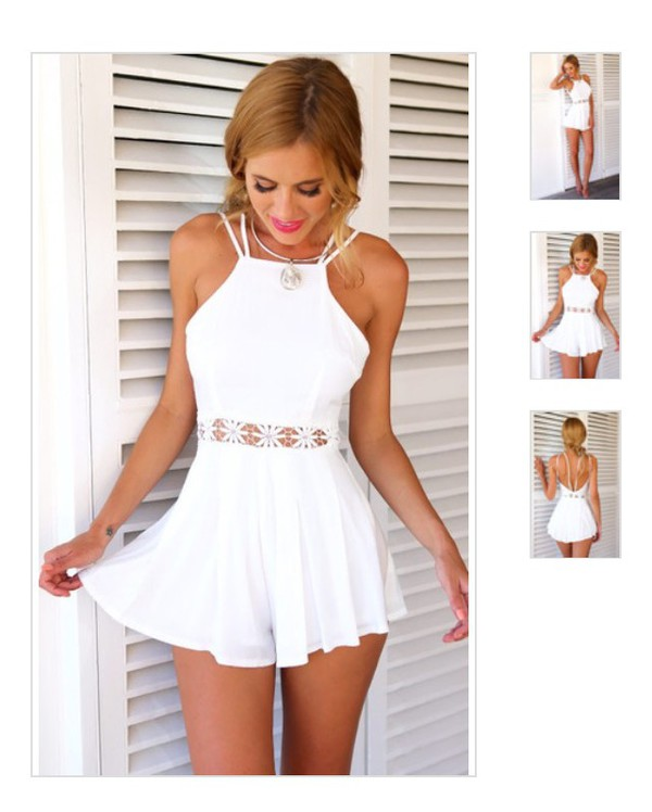 jumpsuit white romper fashion romper summer beach dress white dress white top white skirt white romper summer dress flowers holtertop lace white lace romper flowers dress girly flower details vintage open back dresses girly dress clothes www.ebonylace.storenvy.com with cut out flower shape at the waist white romper cutout romper crochet