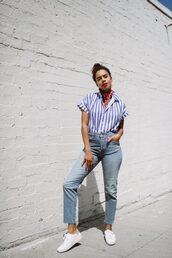 top,shirt,stripes,sneakers,denim,jeans