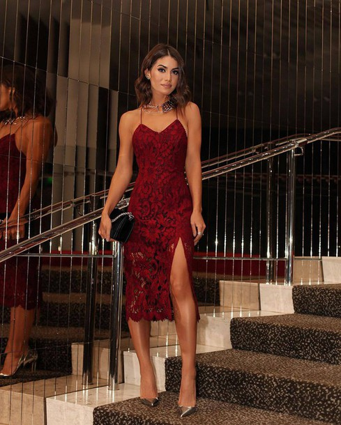 dress tumblr red dress slit dress red lace dress lace dress midi dress  christmas party dress 8f9b9d960