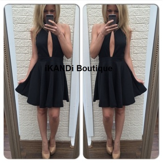 dress black dress party dress party plunge neckline plunge dress v neck black cutout dress skater dress knock offs platforms black sparrow trendy stylish fashion pleated skirt backless dress backless