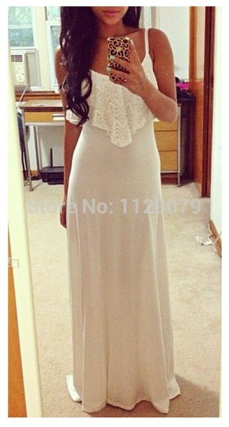 new 2014 hot white lace cute sweet crochet flowy maxi dress made in cotton om123-in Dresses from Apparel & Accessories on Aliexpress.com | Alibaba Group