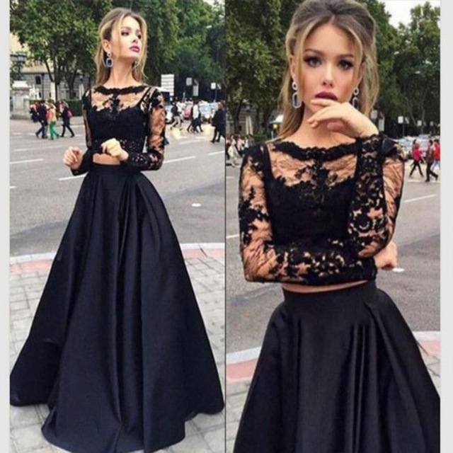 Aliexpress.com : Buy See Though Long Sleeve Sexy Two Piece Prom Dresses Fashion Black Vestido Longo 2016 New Arrival Evening Party Dresses from Reliable dress up prom dress suppliers on Love Kiss Evening Dress and Wedding Dress Manufactory | Alibaba Group