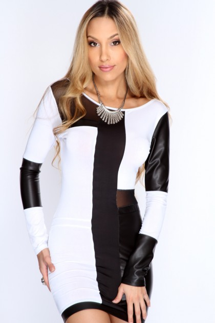 White Black Long Sleeves Sexy Party Dress