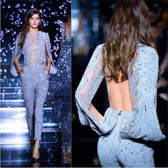 jumpsuit zuhair murad blue glitter elegant feminine