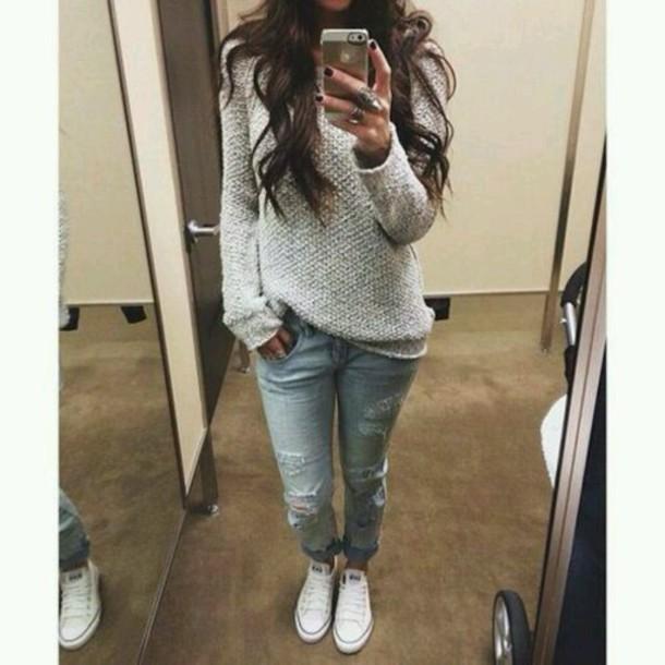 sweater casual jumper jeans boyfriend jeans converse allstars beautiful shoes jewels