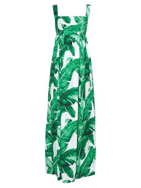 Dolce & Gabbana gown print green dress