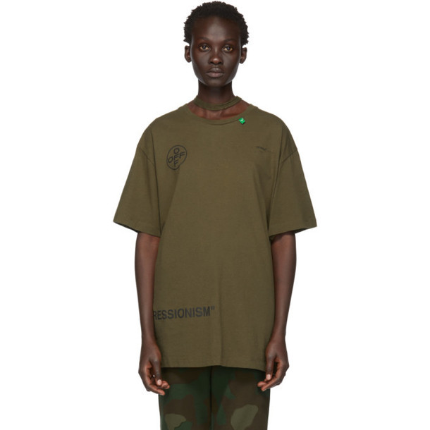 Off-White Green Stencil Over T-Shirt