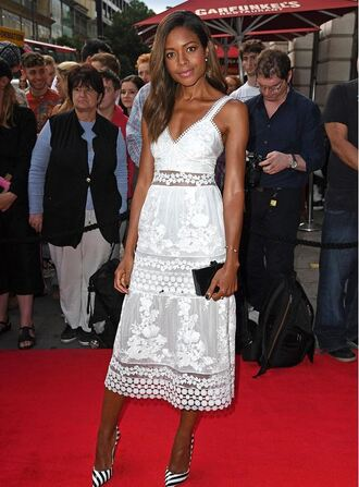dress naomie harris white bag shoes high heels white dress summer dress summer