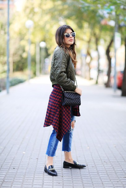 dulceida blogger sunglasses cropped pants quilted loafers army green jacket bomber jacket black loafers white sunglasses chain bag ripped jeans