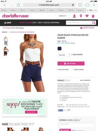 romper strapless short belted blueshorts white blouse pockets