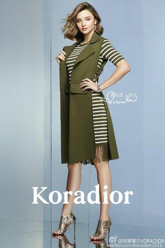 shoes sandals editorial miranda kerr model vest stripes striped dress