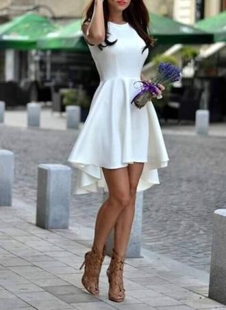 dress white dress high low dress white skater dress cute brown shoes