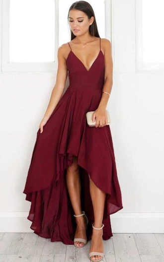 dress burgundy spaghetti strap v neck dress asymetricaldress