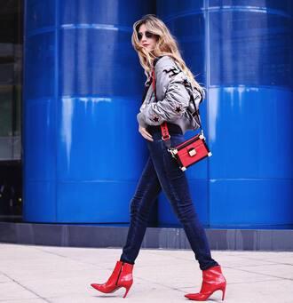 jacket grey jacket bomber jacket denim jeans blue jeans boots red boots ankle boots bag red bag sunglasses tommy hilfiger