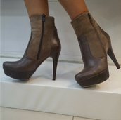 shoes,boots,leather,brown,high heels,leather boots,suede,suede boots,zip,ankle boots