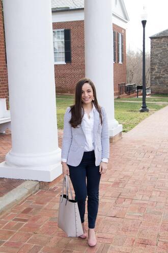 pumps&pushups blogger shoes pants jacket shirt blazer tote bag white shirt office outfits