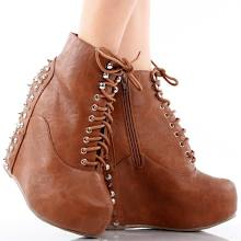 Cognac lace up spike studded hidden wedge heel platform ankle booties