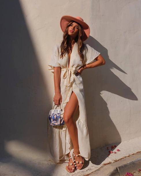 bag sandals maxi dress summer outfits hat summer dress dress