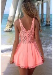 dress,cute,lace,pink dress,pink,coral dress,coral,peach dress,summer dress,summer,spring,cut-out,cute dress,ebonylace.storenvy,ebonylace-streetfashion,ebonylace247,hat,flowers,blonde hair,flashy,peach,pastel pink,pretty,short party dresses,lace dress,pink lace summer,open front dress,short dress,salmon dresses,jumpsuit,romper,style,summer outfits,shorts,light pink,beautiful,cool,jumper,sweet,girl,sea,beach,perfect,fashion,dungaree,thecarriediaries,carrie,pink. dress. ❤️,coral jumpsuit