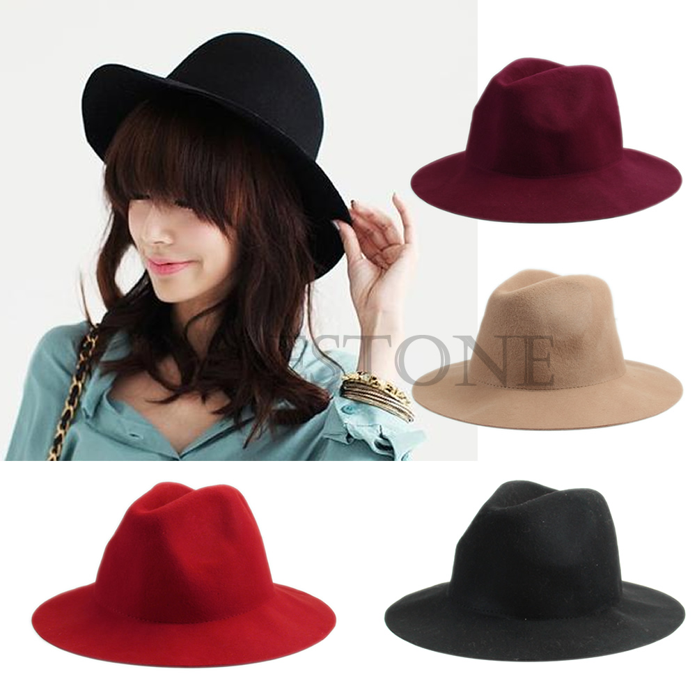 c91828efdcb Vintage Ladies Women Wide Brim Wool Felt Hat Floppy Bowler ...