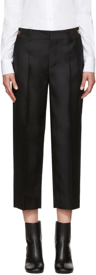 black silk wool pants