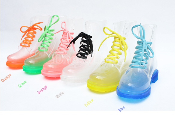 Women's Water Rain Shoes Candy Color Sheer Ties Flat Heel Short Boots